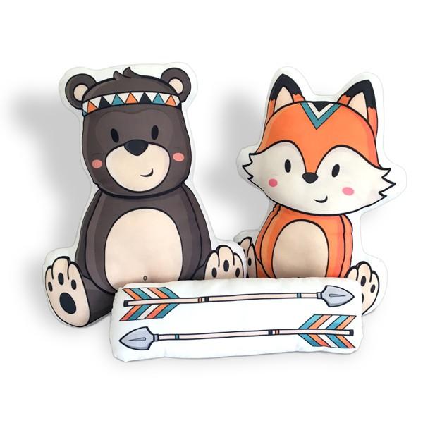Kit de Almofadas Raposa e Urso