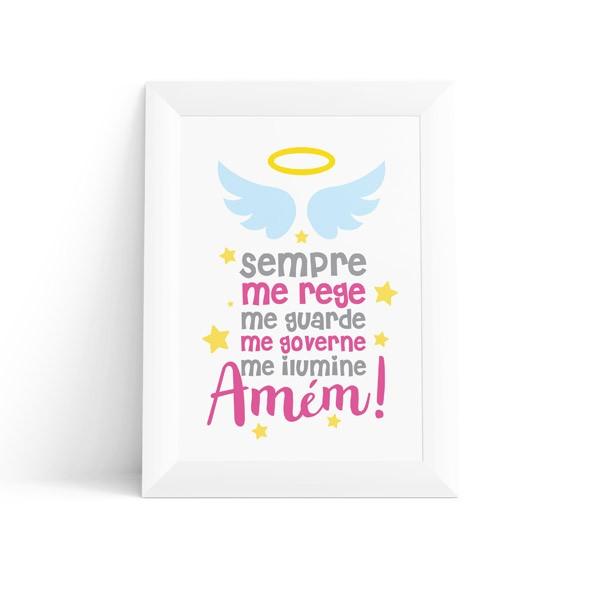 Quadro Infantil Oração do Anjo Feminino