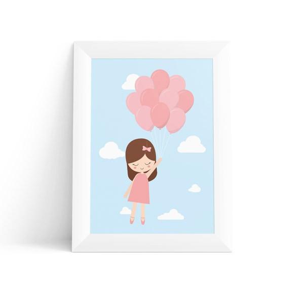 Quadro Menina com Balões