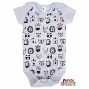 Body Bebê com Estampa Bichinhos Full - Mescla Branco
