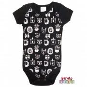 Body Bebê com Estampa Bichinhos Full - Preto