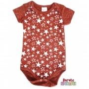 Body Bebê com Estampa de Estrelas - Bordô Botonê
