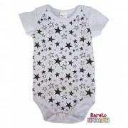 Body Bebê com Estampa de Estrelas - Mescla Branco