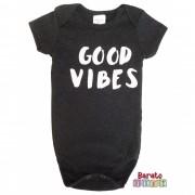 Body Bebê com Estampa Good Vibes - Preto