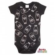 Body Bebê com Estampa Milk - Preto