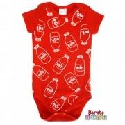 Body Bebê com Estampa Milk - Vermelho