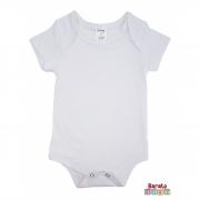 Body Bebê Manga Curta (P/M/G) -Barato Bebê- Branco - Liso