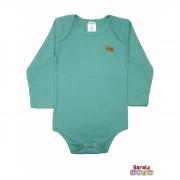 Body Bebê Manga Longa (P-M-G)- Barato Bebê - Verde - Liso