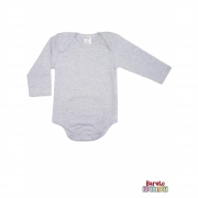 Body Bebê Manga Longa - Mescla Branco - Liso