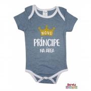 Body Bebê MC (P/M/G) -  Príncipe na Área - Barato Bebê - Azul