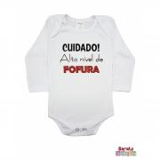 Body Bebê ML (P/M/G) - Cuidado! Alto Nível de Fofura - Barato Bebê - Branco