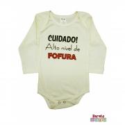 Body Bebê ML (P/M/G) - Cuidado! Alto Nível de Fofura - Barato Bebê - Off-White