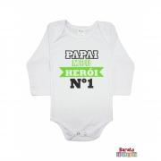 Body Bebê ML (P/M/G) -  Papai Meu Herói - Barato Bebê - Branca