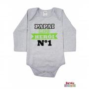 Body Bebê ML (P/M/G) -  Papai Meu Herói - Barato Bebê - Mescla