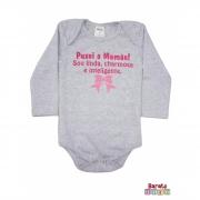 Body Bebê ML (P/M/G) -  Puxei a Mamãe - Barato Bebê - Mescla