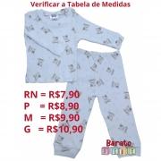 Conjunto Bebê - 100% Algodão - Tecido Canelado - Ursinho (RN-P-M-G)