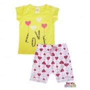 Conjunto Infantil Menina Amarelo - Love