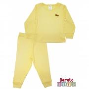 Conjunto Pijama Longo Bebê (P-M-G-GG)- Barato Bebê - Amarelo