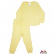 Conjunto Pijama Longo Bebê (P-M-G-GG)- Barato Bebê - Amarelo - Liso