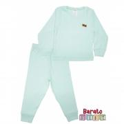 Conjunto Pijama Longo Bebê (P-M-G-GG)- Barato Bebê - Verde Agua