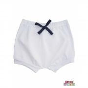 Shorts(Tapa Fralda) Bebê(P/M/G)  - Barato Bebê - Branco c/ Laço Marinho