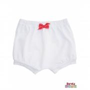 Shorts(Tapa Fralda) Bebê(P/M/G)  - Barato Bebê - Branco c/ Laço Pink