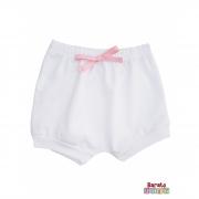 Shorts(Tapa Fralda) Bebê(P/M/G)  - Barato Bebê - Branco c/ Laço Rosa