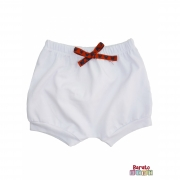 Shorts(Tapa Fralda) Bebê(P/M/G)  - Barato Bebê - Branco c/ Laço Tematico