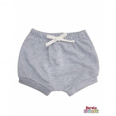 Shorts(Tapa Fralda) Bebê(P/M/G)  - Barato Bebê - Mescla C/ Laço Cinza