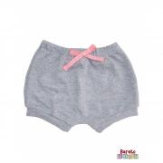 Shorts(Tapa Fralda) Bebê(P/M/G)  - Barato Bebê - Mescla C/ Laço Rosa