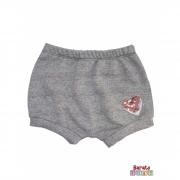 Shorts(Tapa Fralda) Bebê(P/M/G)  - Barato Bebê - Mescla Preto C/ Aplique Coração