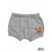Shorts(Tapa Fralda) Bebê(P/M/G)  - Barato Bebê - Mescla Preto C/ Aplique Ursinho