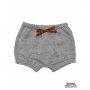 Shorts(Tapa Fralda) Bebê(P/M/G)  - Barato Bebê - Mescla Preto C/ Laço