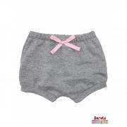 Shorts(Tapa Fralda) Bebê(P/M/G)  - Barato Bebê - Mescla Preto C/ Laço Rosa