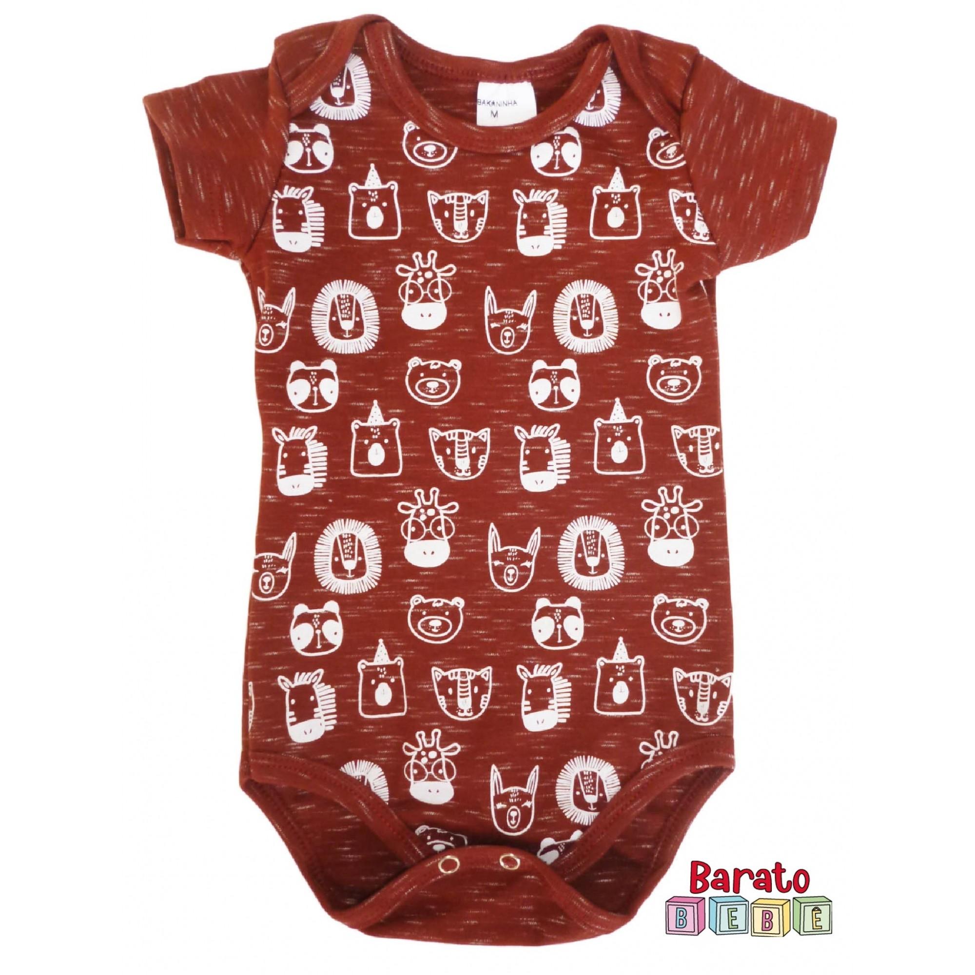 Body Bebê com Estampa Bichinhos Full - Bordô