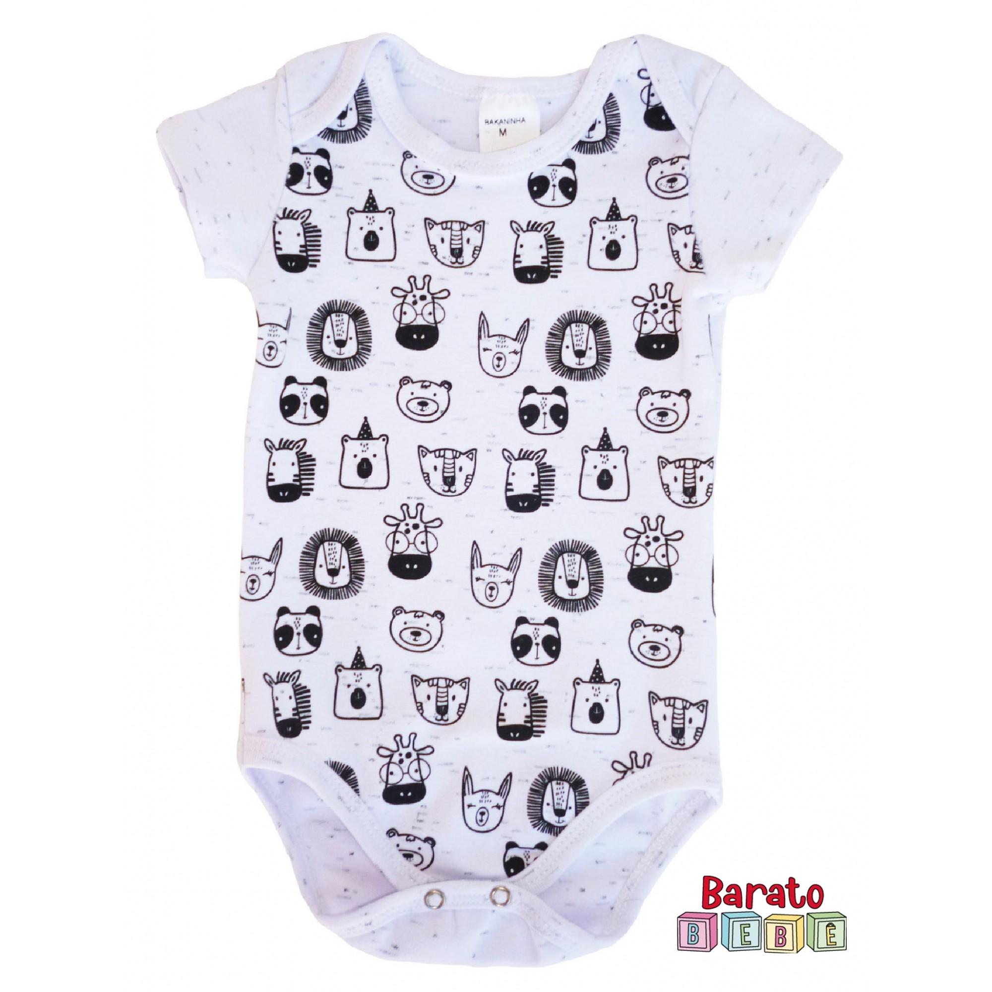 Body Bebê com Estampa Bichinhos Full - Branco