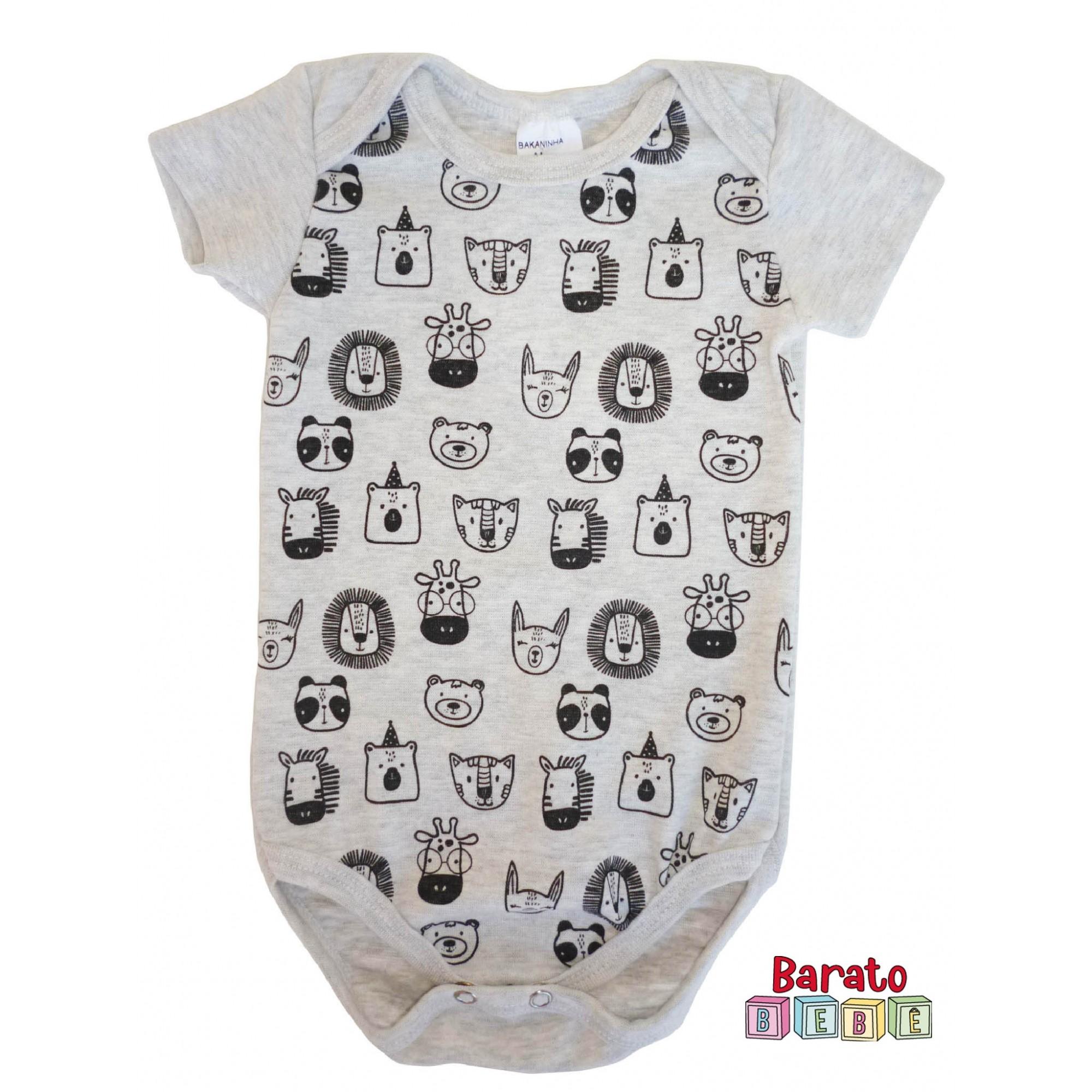 Body Bebê com Estampa Bichinhos Full - Mescla Banana