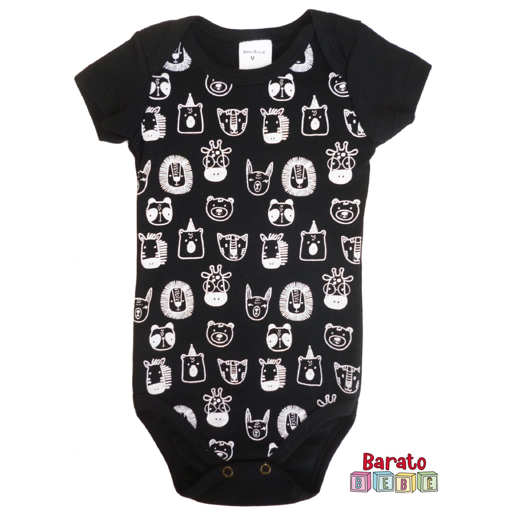 Body Bebê com Estampa Bichinhos - Preto