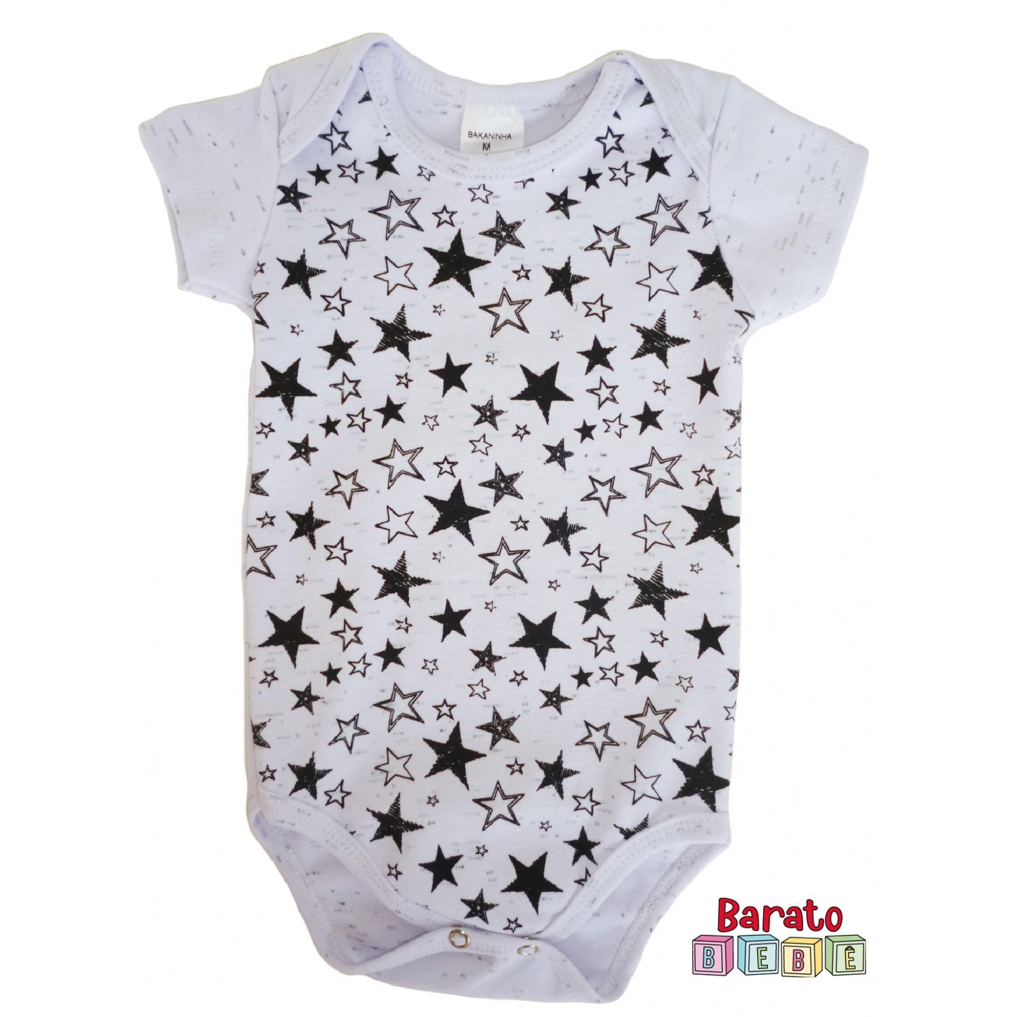 Body Bebê com Estampa de Estrelas - Branco Botonê