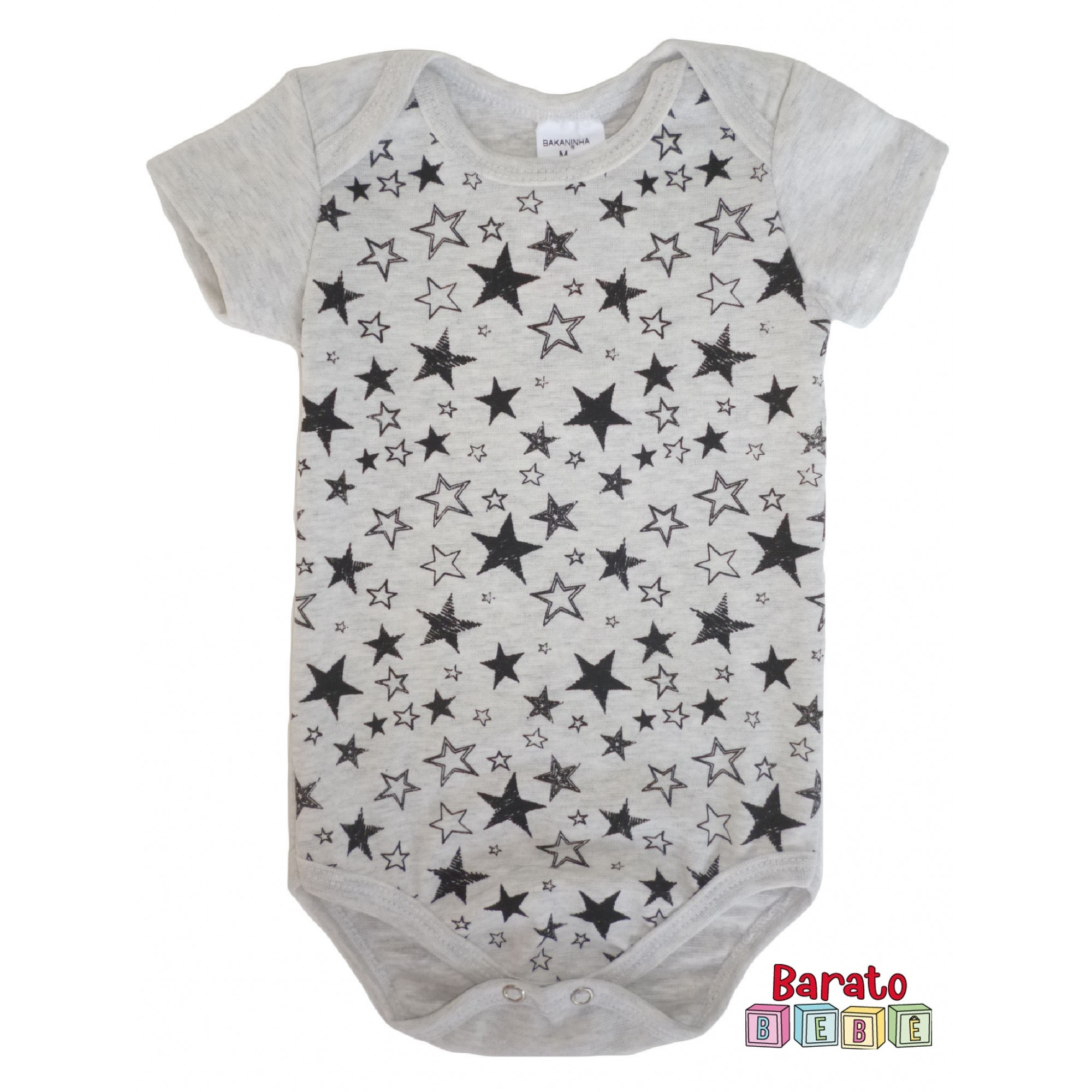 Body Bebê com Estampa de Estrelas - Mescla Banana