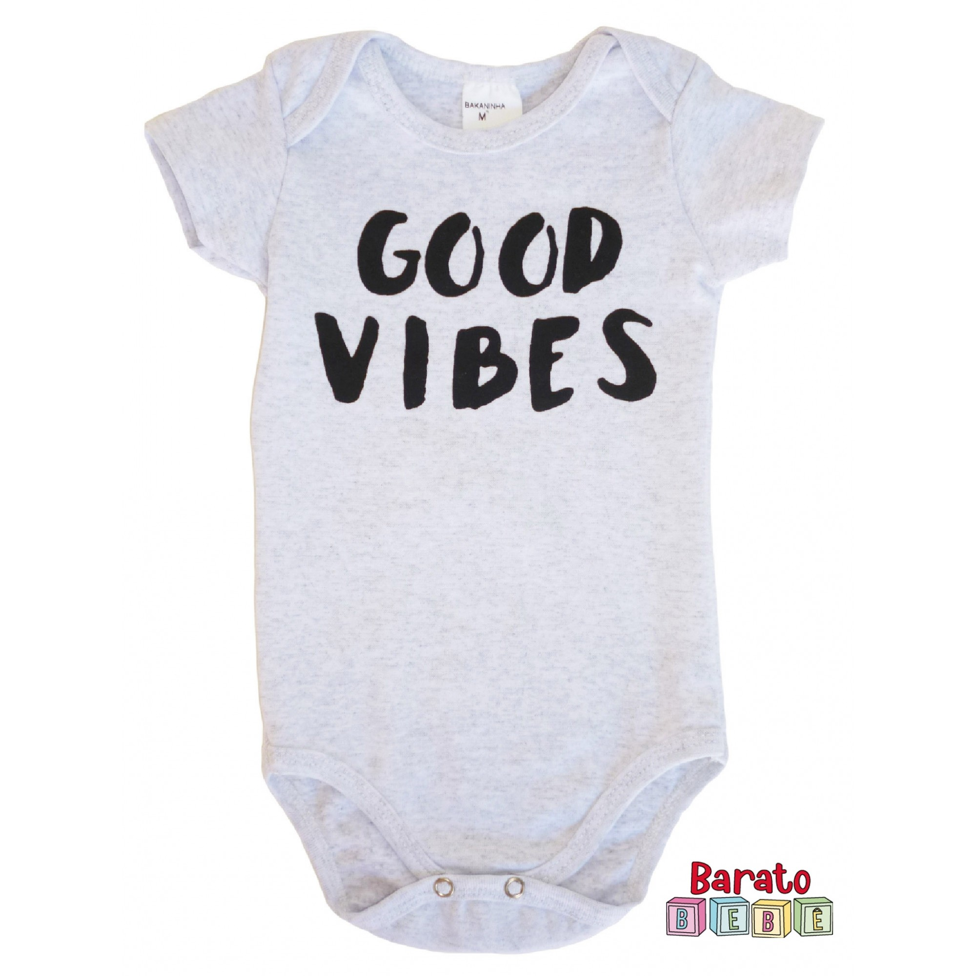 Body Bebê com Estampa Good Vibes - Mescla Branco