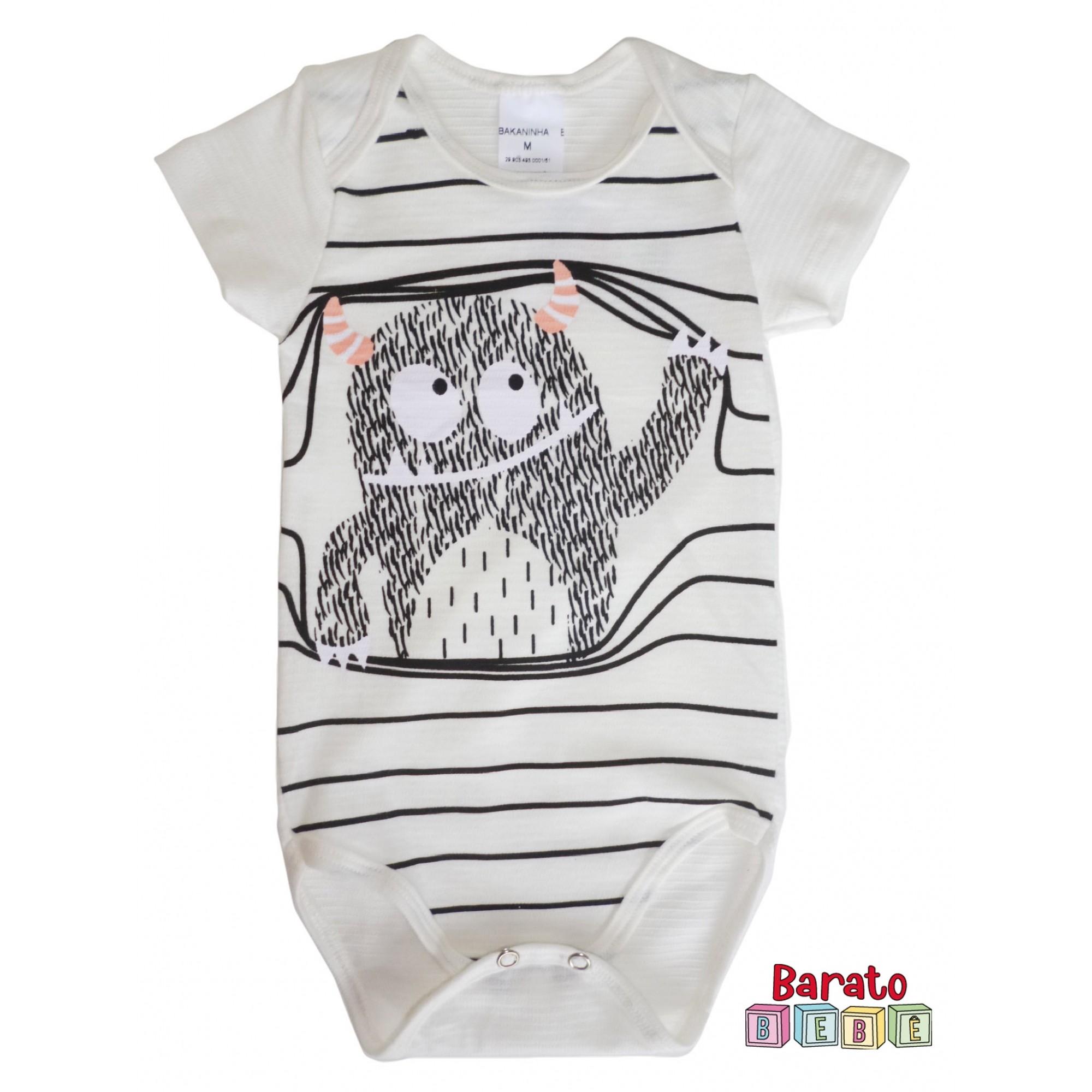 Body Bebê com Estampa Monstrinhos-Full - Off White