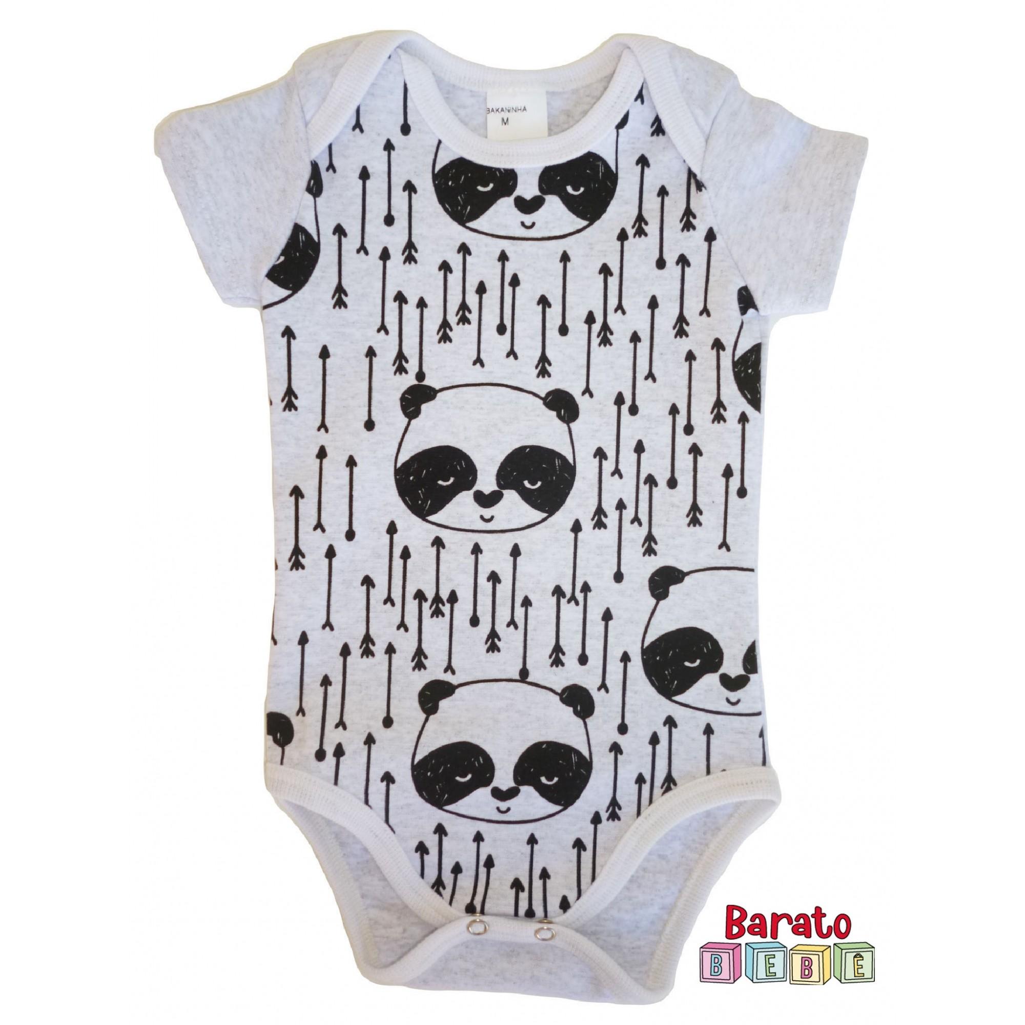 Body Bebê com Estampa Panda-Full - Mescla Branco