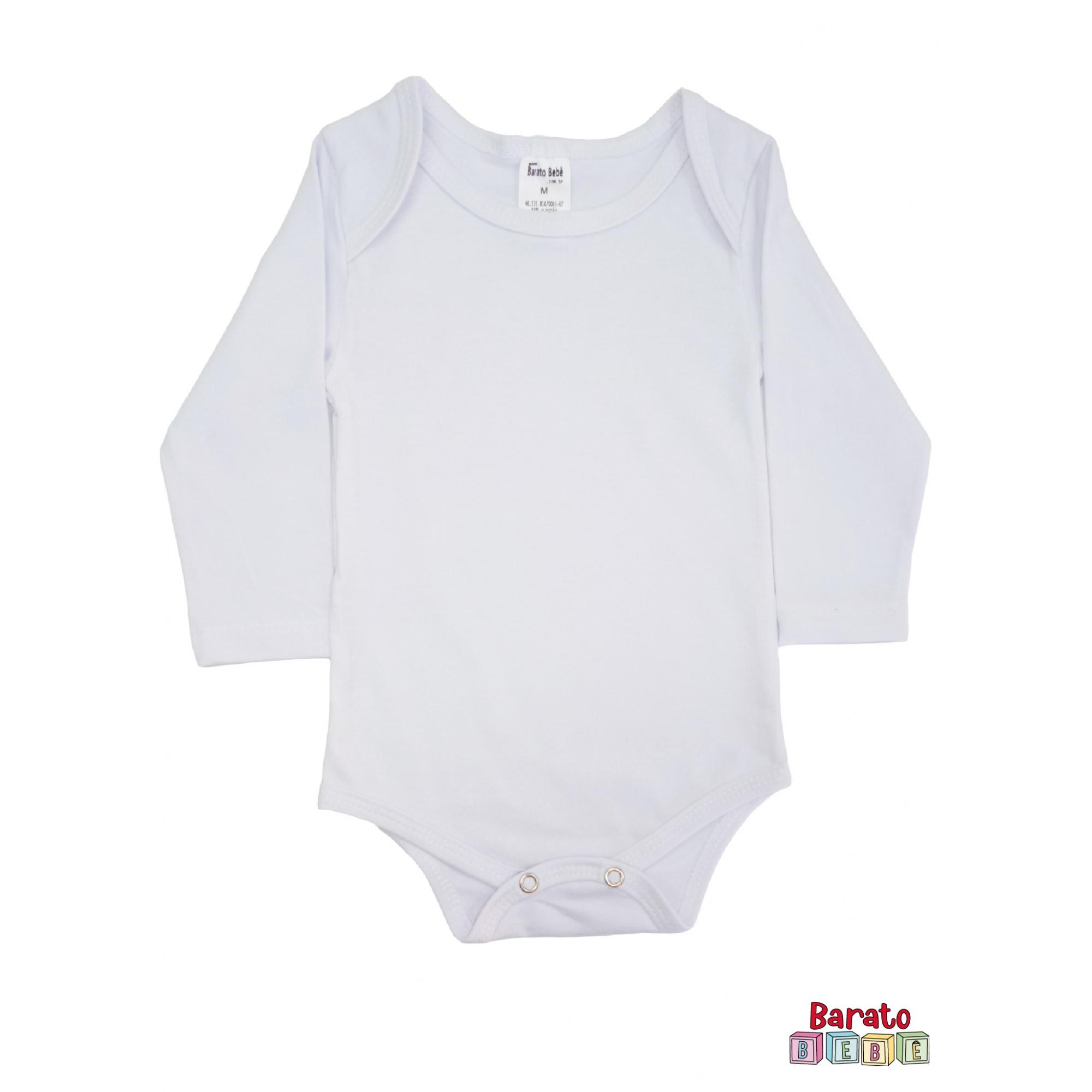 Body Bebê Manga Longa - Branco (P-M-G) - Liso