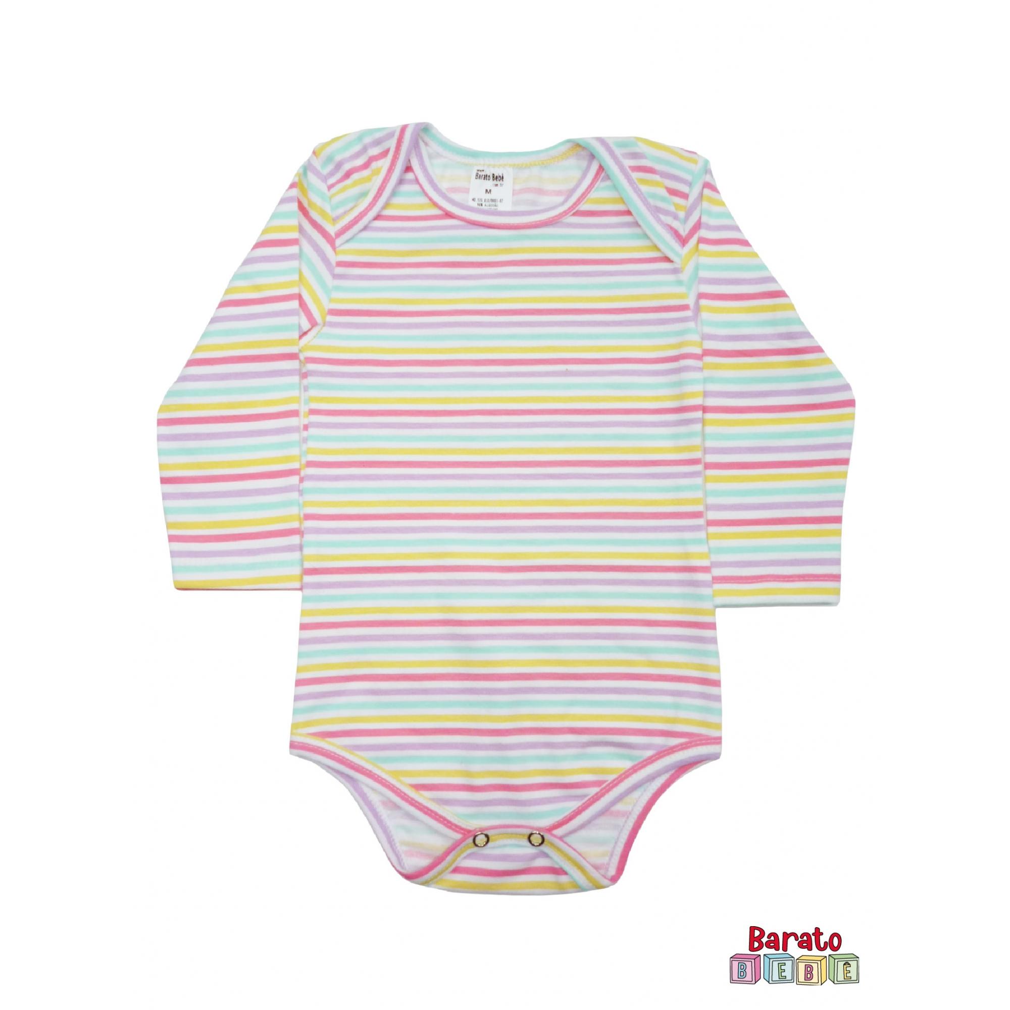 Body Bebê Manga Longa Listrado (P/M/G ) - Menina