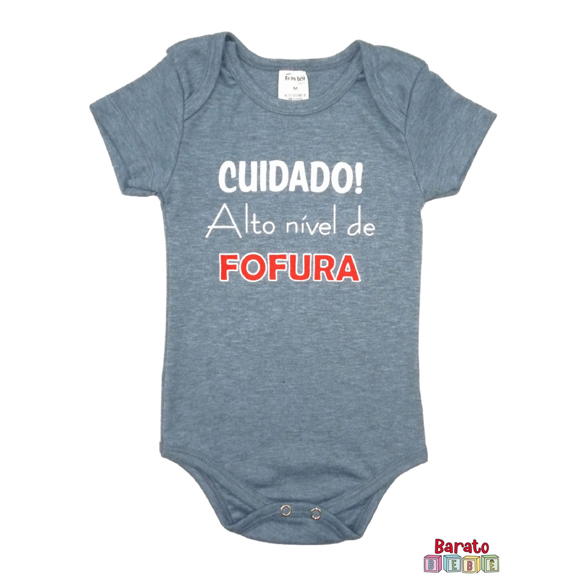Body Bebê MC (P/M/G) - Cuidado! Alto Nível de Fofura - Barato Bebê - Azul