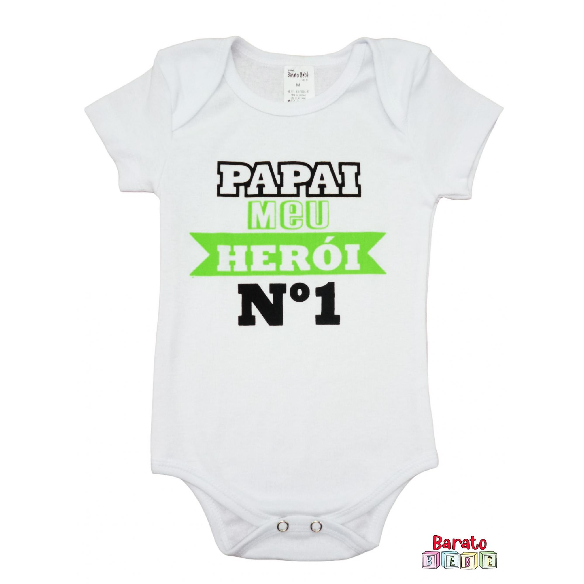 Body Bebê MC (P/M/G) - Papai Meu Herói nº 1 - Barato Bebê - Branco