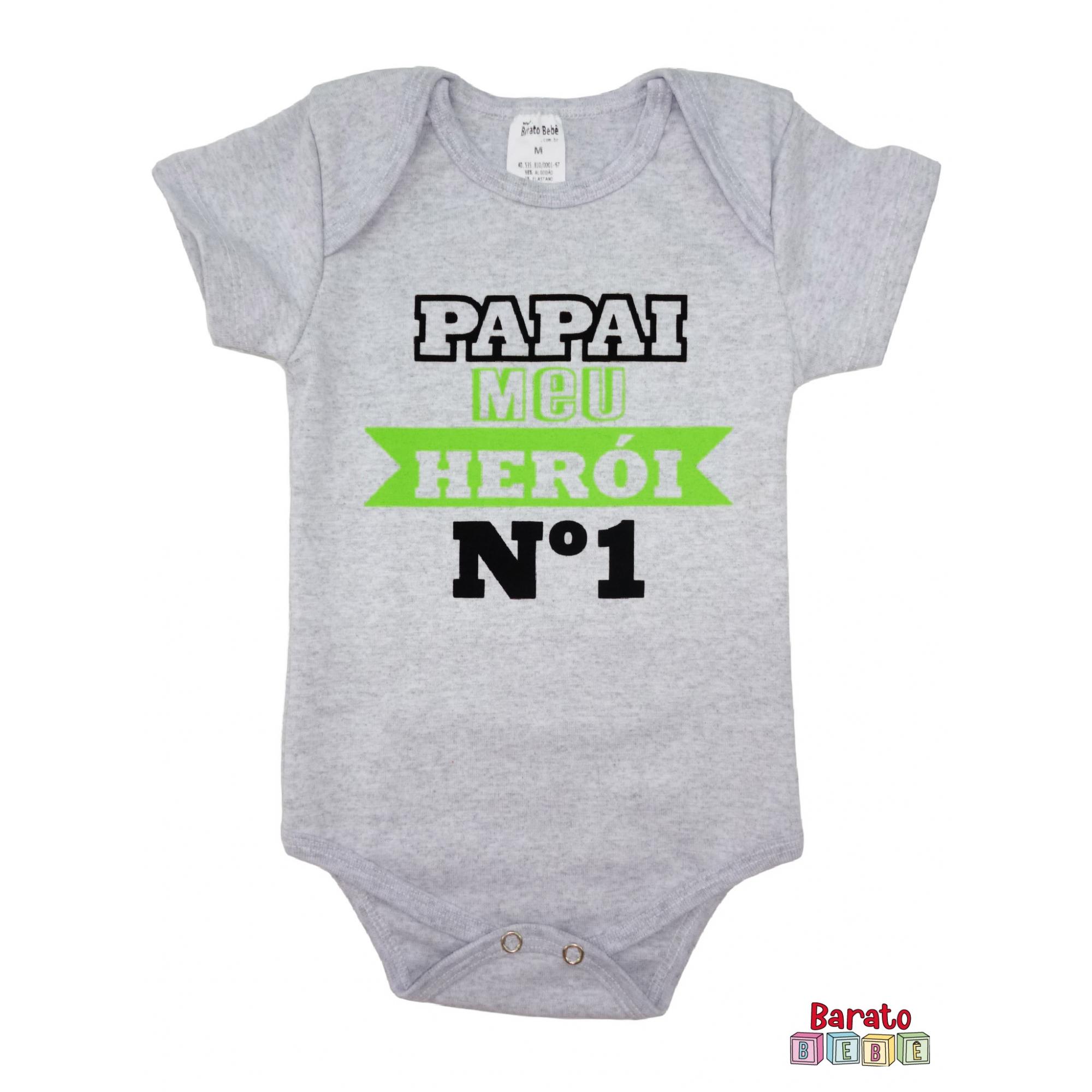 Body Bebê MC (P/M/G) - Papai Meu Herói nº 1 - Barato Bebê - Mescla