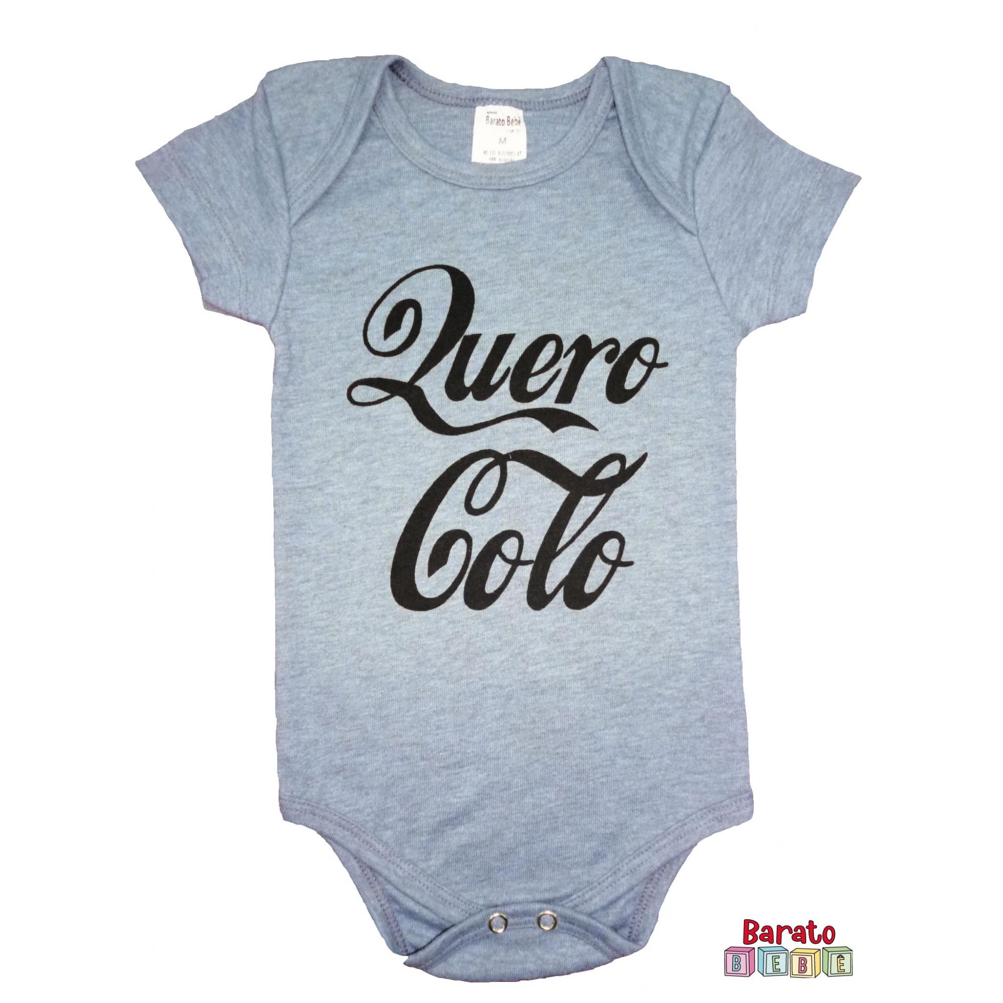 Body Bebê MC (P/M/G) - Quero Colo - Barato Bebê - Mescla Azul