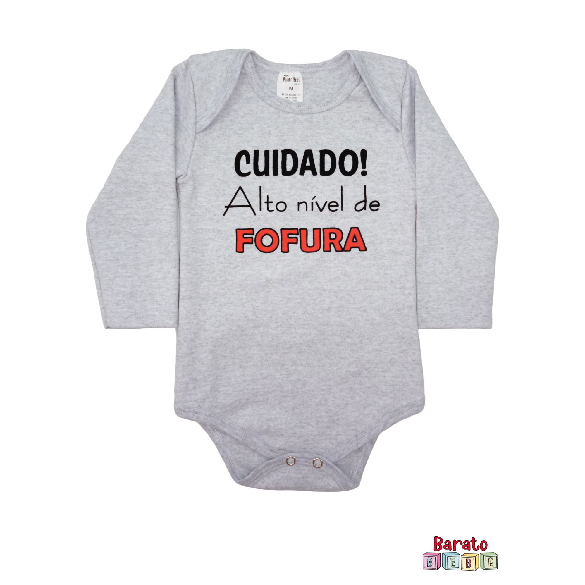 Body Bebê ML (P/M/G) - Cuidado! Alto Nível de Fofura - Barato Bebê - Mescla